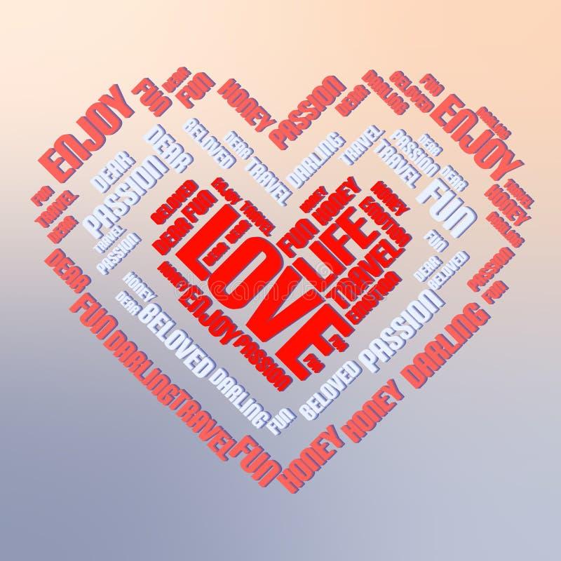 Valentinstagwort-Wolkencollage, Herzkonzepthintergrund vektor abbildung