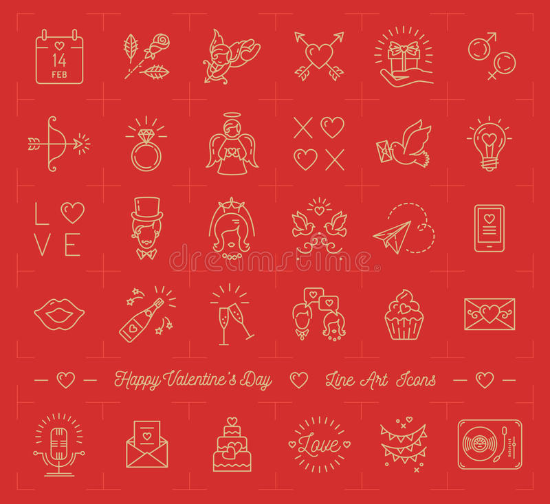 Valentinsymbolsuppsättningen, förälskelsesymboler, lägenhetdesignlinje gör stil tunnare royaltyfri illustrationer