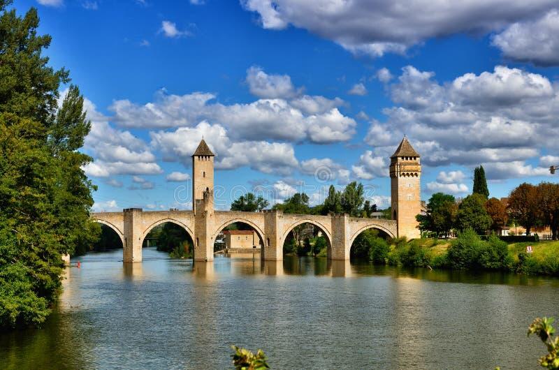Valentre przerzuca most, symbol Cahors miasteczko, Francja obraz stock
