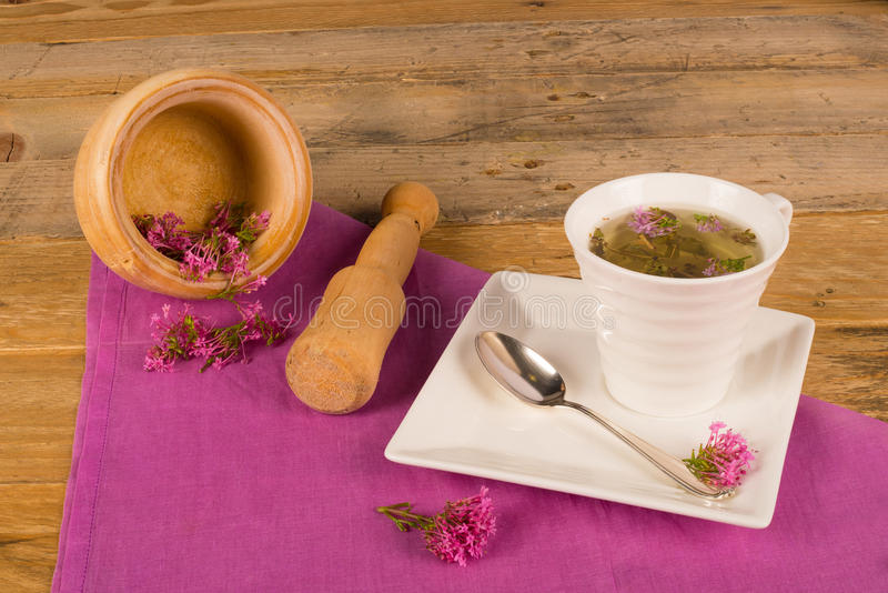 Valerian tea on table royalty free stock photos