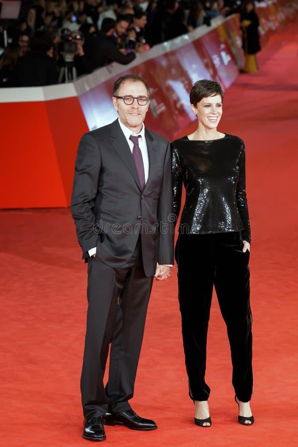 Valerio Mastandrea and Valentina Avenia walk a red carpet 12th R royalty free stock photography