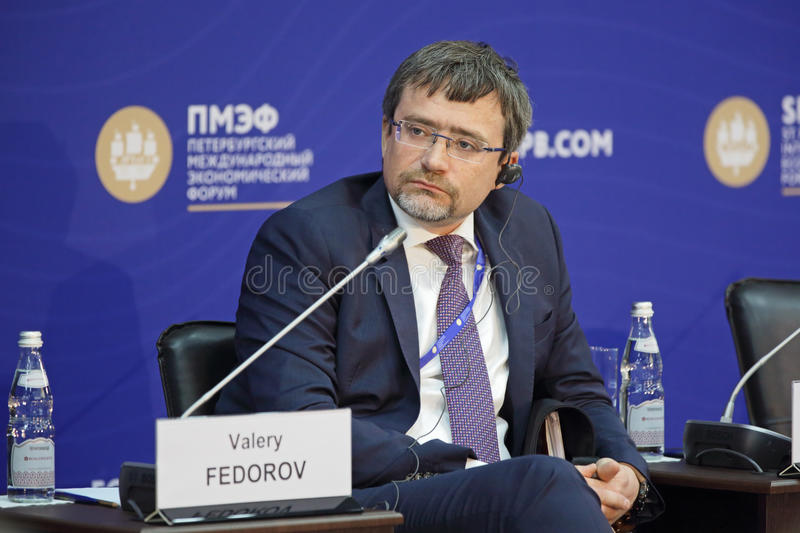 Valery Fedorov. SAINT-PETERSBURG, RUSSIA - JUN 17, 2016: St. Petersburg International Economic Forum SPIEF-2016. Valery Fedorov, Director General, Russian Public royalty free stock photos
