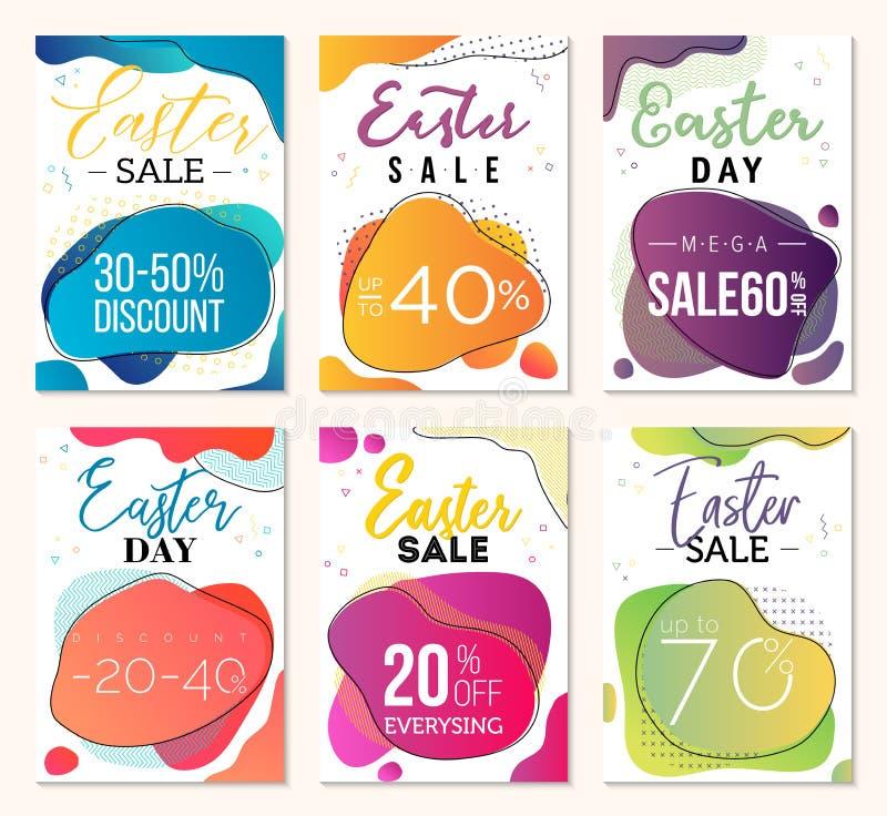 Vales de la venta del día de Pascua Plantillas creativas para el negocio con las formas líquidas de la dual-pendiente y los eleme fotografía de archivo