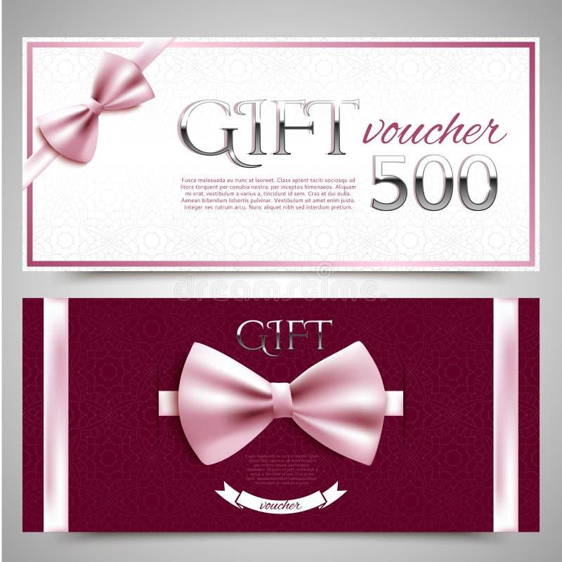 Vales de regalo con los arcos decorativos libre illustration