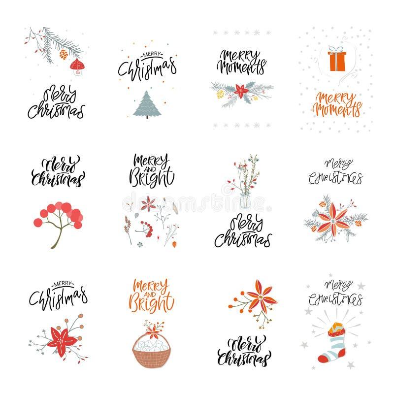 Vales-oferta bonitos do Feliz Natal da coleção e grupo de elementos ilustração stock