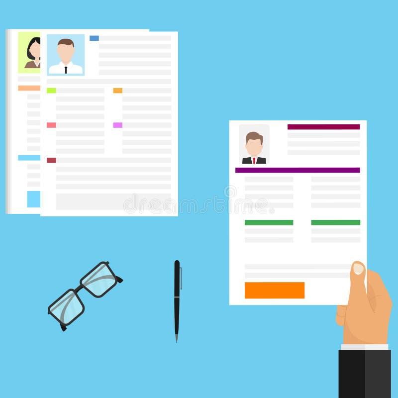 Valet av meritförteckningen, affärsmannen väljer personalerna Välja den högra kandidaten för arbete vektor illustrationer