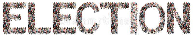 Valet röstar den mång- folkgruppen för valpolitik av folk arkivfoton