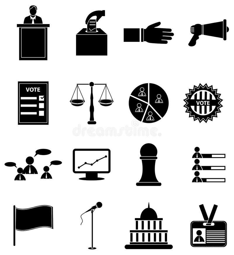 Valet röstar symbolsuppsättningen stock illustrationer