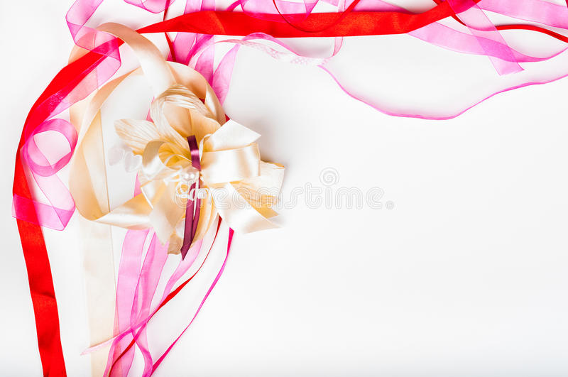 Valetine`s day, Mother`s day, birthday concept - Colorful ribbon. Greeting card design royalty free illustration