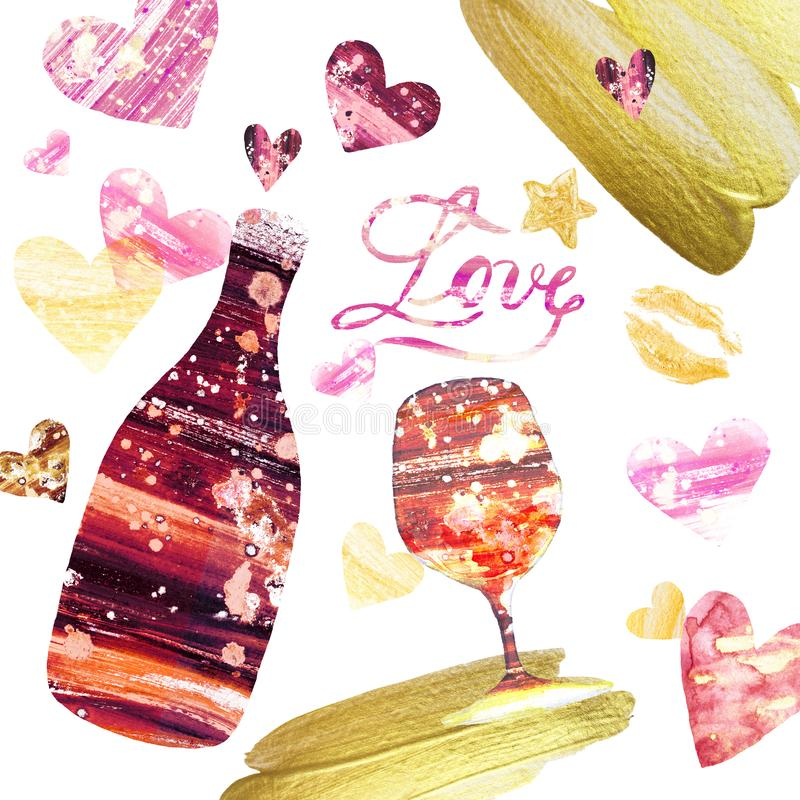 Festive Valetines day background with set of hand painted elements.Bottle of wine and wine glass royalty free illustration