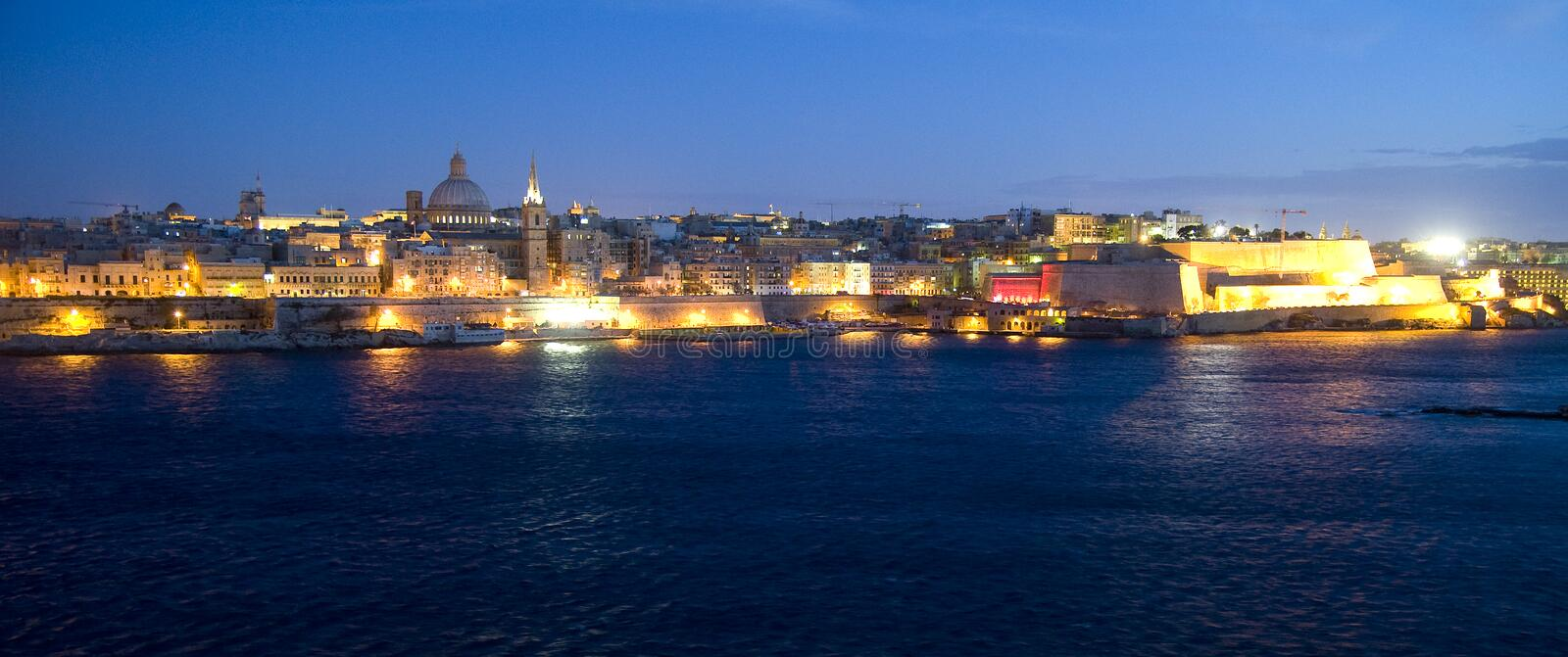 Valetta at night. Malta royalty free stock images