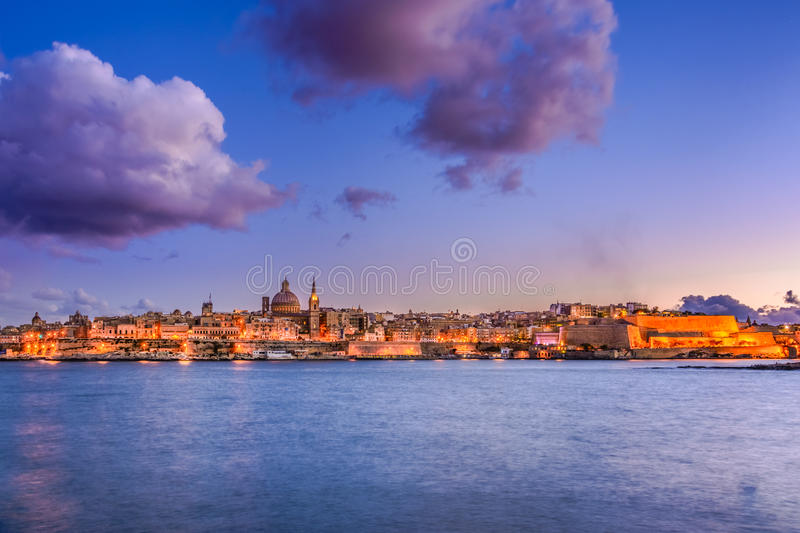Valetta by night, Malta royalty free stock images
