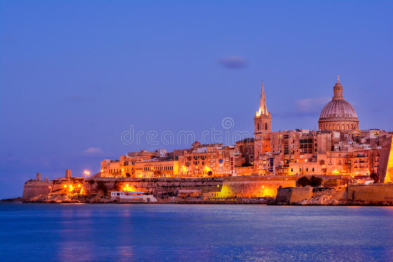 Valetta by night, Malta stock photo