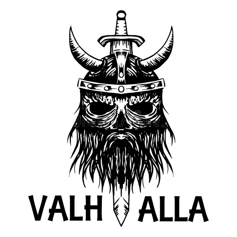 Valhalla Symbol Of Scandinavian Ancient Viking Head Vector Icon