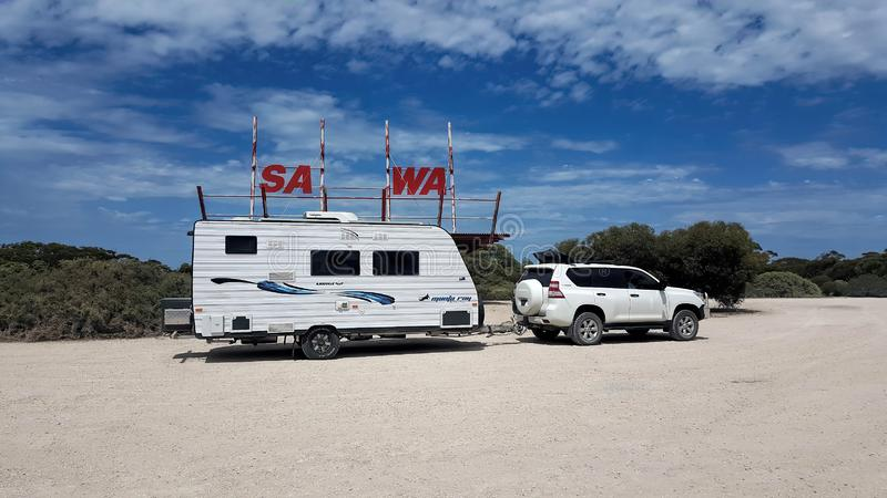 Valico di frontiera dell'Australia Meridionale all'Australia occidentale fotografia stock