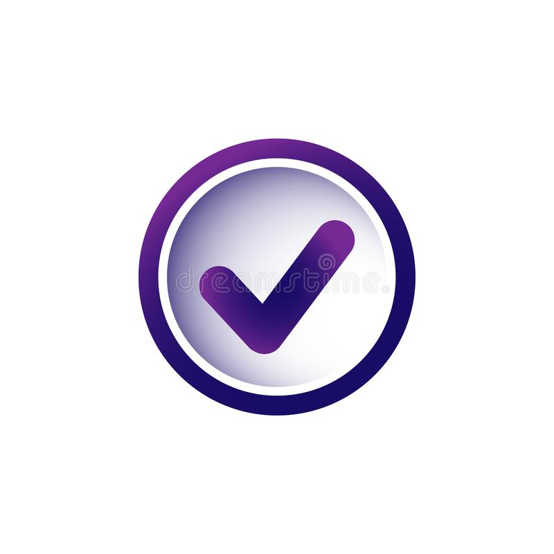 Valid Seal icon. Violet and purple tick in purple circle. Flat OK sticker icon. Isolated on white. Accept button. vector illustration