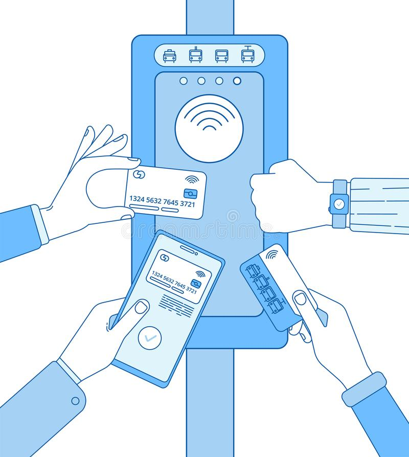 Validação do bilhete Cartões dos bilhetes do metro de Rfid na mão do smartphone Tecnologia do aeroporto da entrada da segurança d ilustração stock