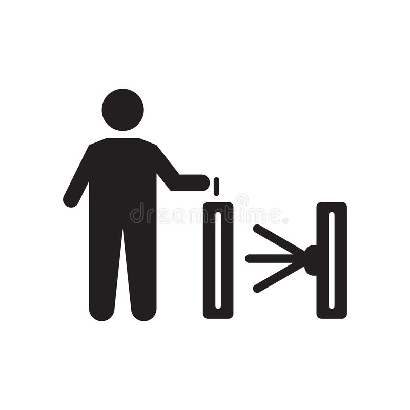 Validando o sinal e o símbolo do vetor do ícone do bilhete isolados no fundo branco, validando o conceito do logotipo do bilhete ilustração stock