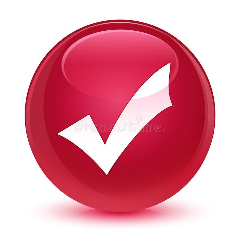 Validation icon glassy pink round button stock illustration