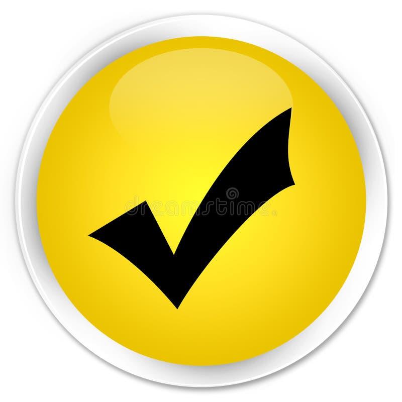 Validation icon premium yellow round button stock illustration