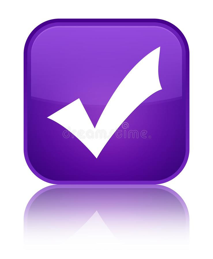 Validation icon special purple square button. Validation icon isolated on special purple square button reflected abstract illustration royalty free illustration