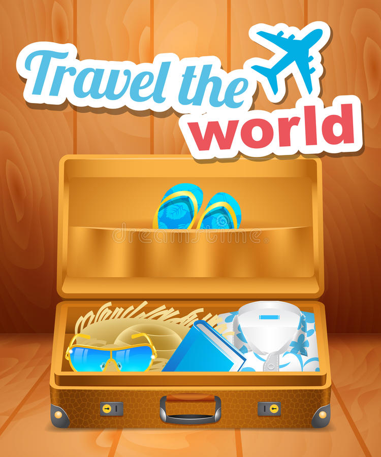 Valigia aperta dell'annata con i vestiti per la vacanza illustrazione vettoriale