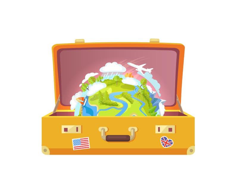 Valigia con gli autoadesivi, illustrazione di vettore del globo illustrazione vettoriale