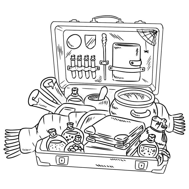 Valigia con gli oggetti di fascino Imballaggio alla scuola magica Raccolta degli oggetti magici per lanciare un incantesimo Acces royalty illustrazione gratis