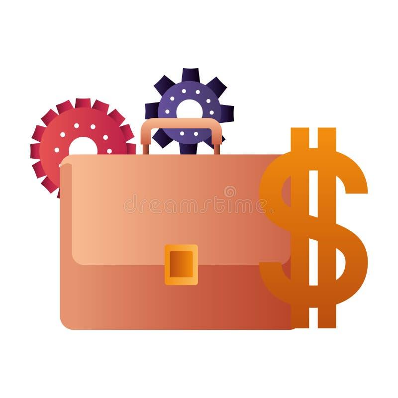 Valigia con l'icona isolata simbolo del dollaro illustrazione di stock