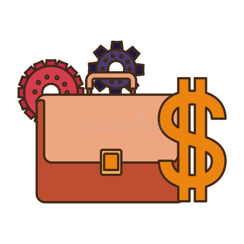 Valigia con l'icona isolata simbolo del dollaro royalty illustrazione gratis
