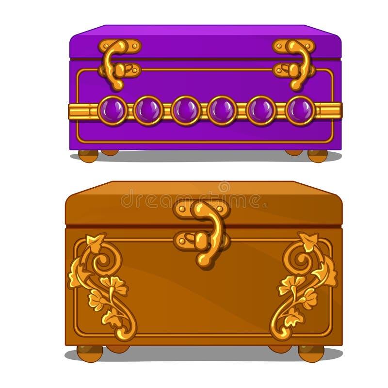 Valigia d'annata con il modello ed i fermagli floreali royalty illustrazione gratis