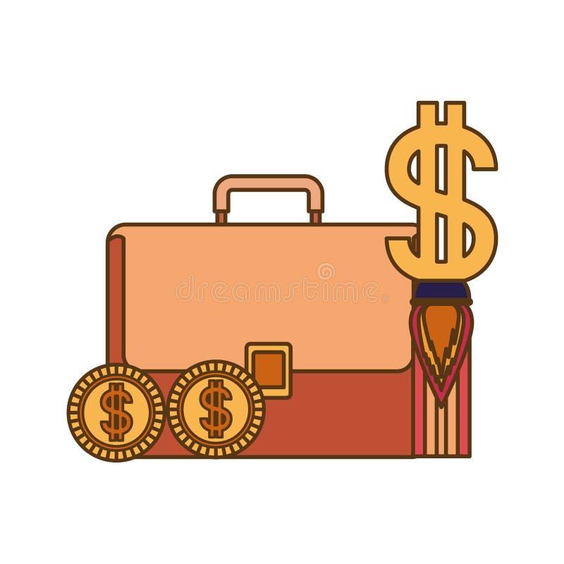Valigia dell'uomo d'affari con il simbolo del dollaro illustrazione di stock