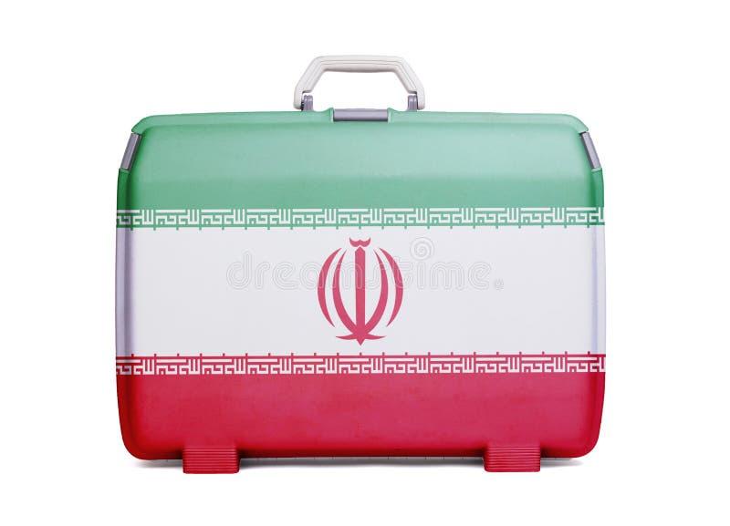 Valigia di plastica utilizzata con le macchie ed i graffi immagine stock
