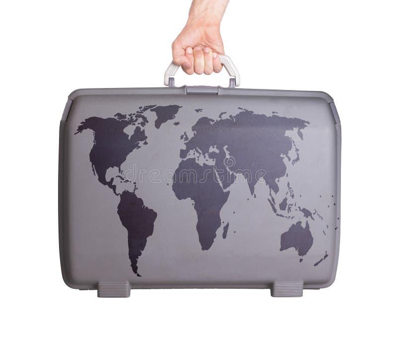 Valigia di plastica utilizzata con le macchie ed i graffi fotografia stock libera da diritti