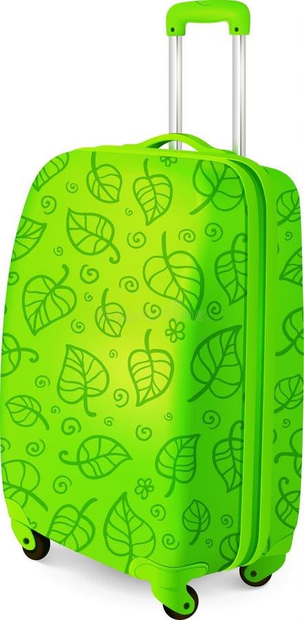 Valigia di viaggio del bagaglio di vettore verde illustrazione di stock