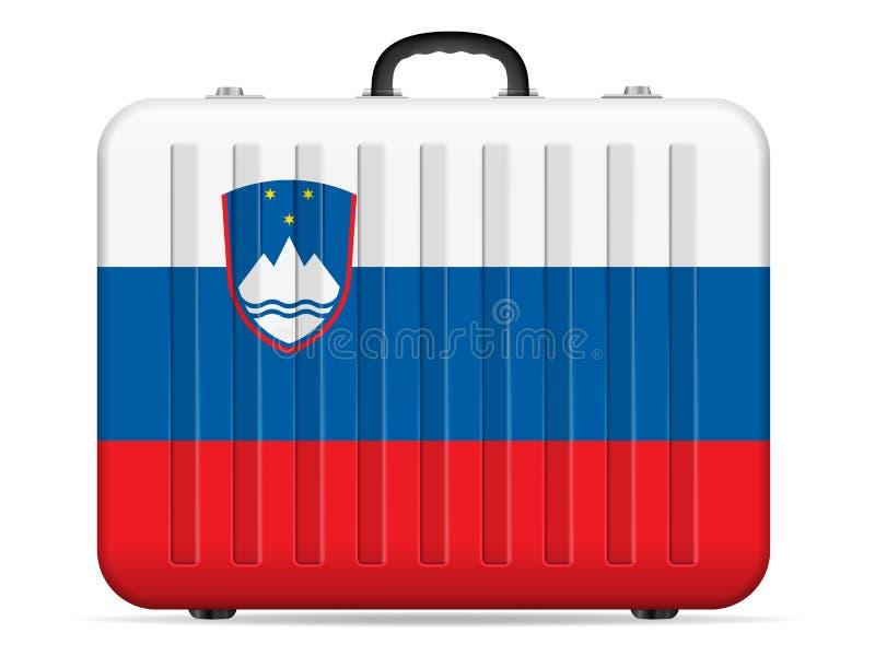 Valigia di viaggio della bandiera della Slovenia illustrazione vettoriale