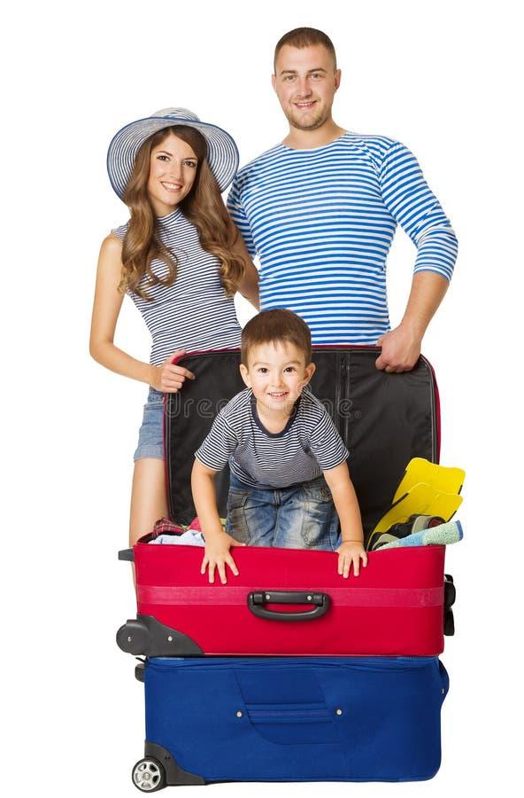 Valigia di viaggio della famiglia, la gente e bagagli di vacanza, borsa del bambino fotografia stock libera da diritti