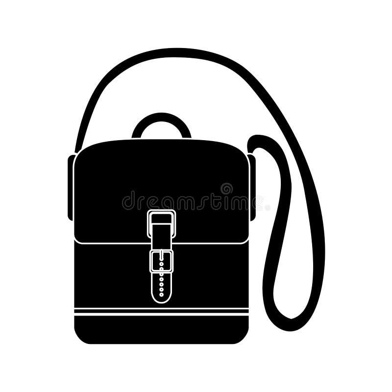 Valigia mani libere di viaggio nero della siluetta con le cinghie illustrazione vettoriale