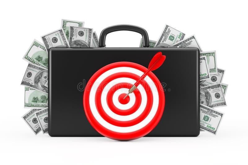 Valigia nera in pieno di cento dollari con l'obiettivo come dardi 3d illustrazione vettoriale