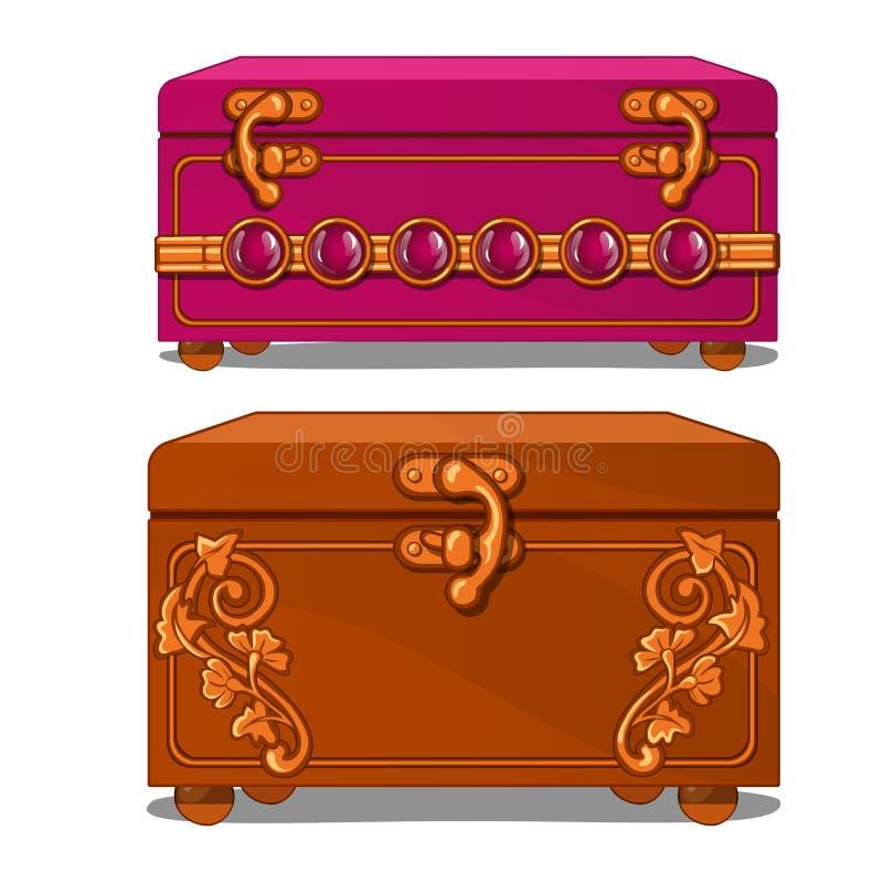 Valigia rosa e marrone con il modello floreale illustrazione vettoriale