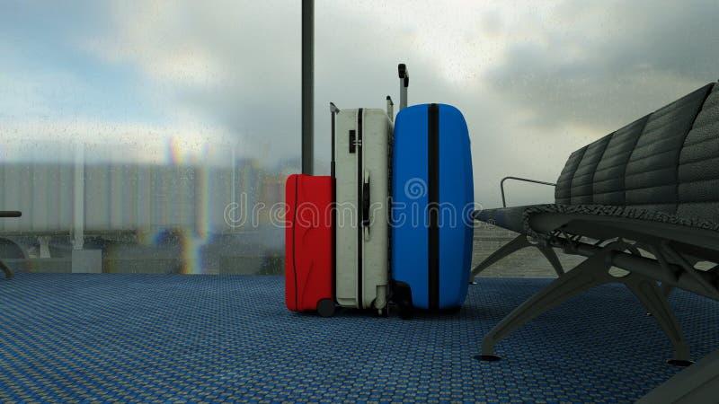 valigie del viaggiatore nel rifugio del terminale di aeroporto fotografie stock