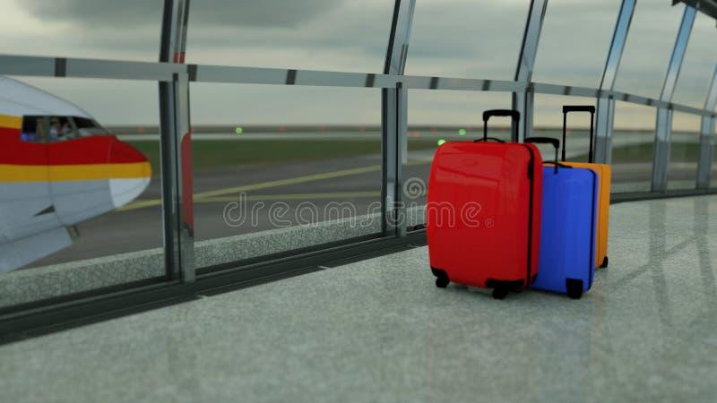 valigie del viaggiatore nel rifugio del terminale di aeroporto fotografia stock libera da diritti