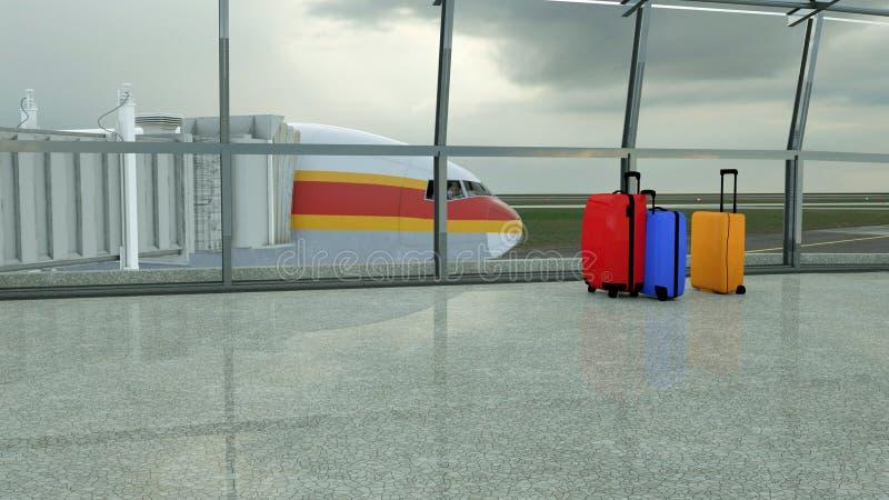 valigie del viaggiatore nel rifugio del terminale di aeroporto immagini stock libere da diritti