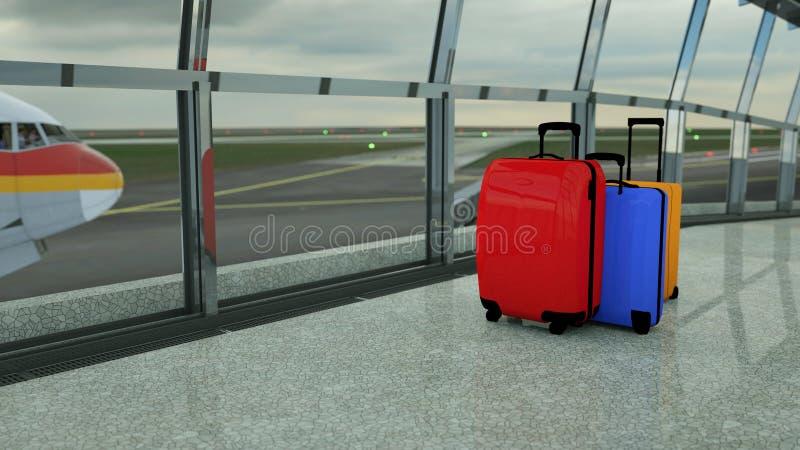 valigie del viaggiatore nel rifugio del terminale di aeroporto fotografia stock
