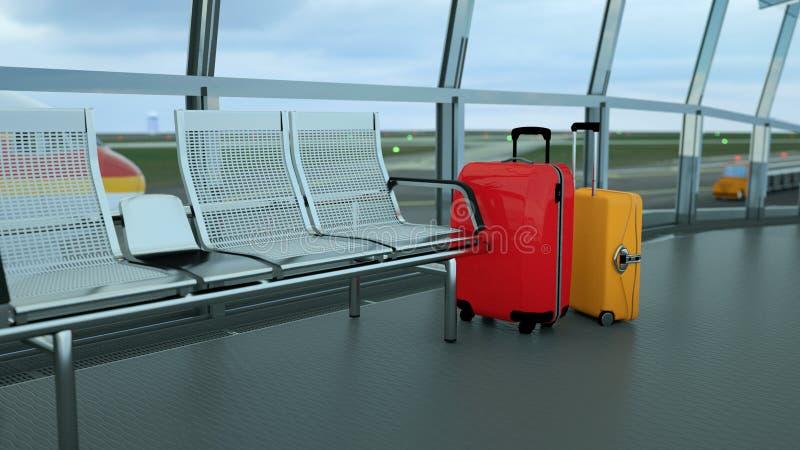 valigie del viaggiatore nel rifugio del terminale di aeroporto immagine stock