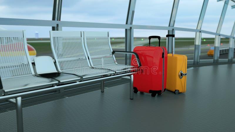 valigie del viaggiatore nel rifugio del terminale di aeroporto fotografie stock libere da diritti