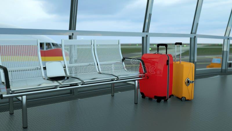 valigie del viaggiatore nel rifugio del terminale di aeroporto immagini stock