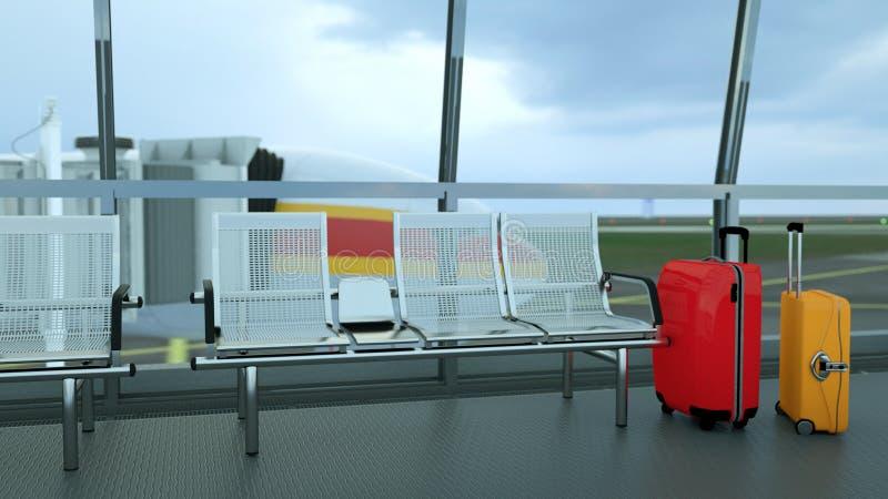 valigie del viaggiatore nel rifugio del terminale di aeroporto immagine stock libera da diritti