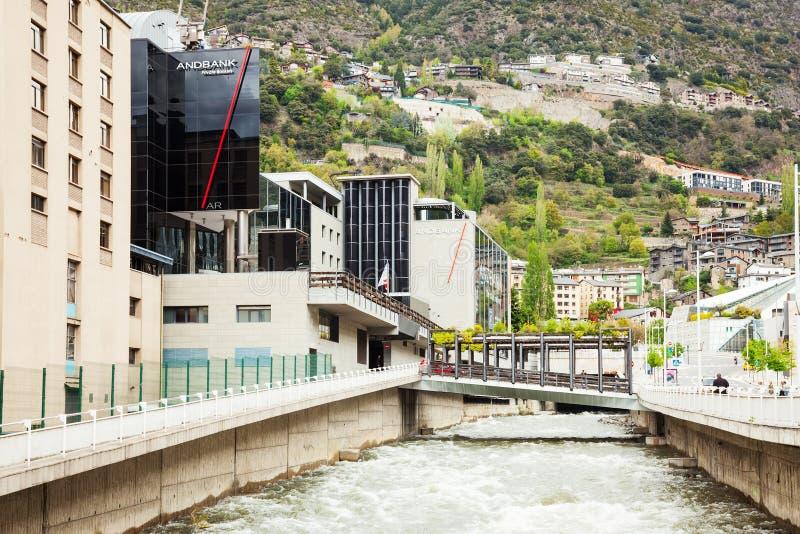 Valira-Fluss in Andorra-La Vella, Andorra lizenzfreie stockbilder