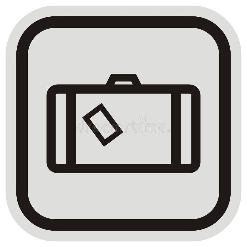 Valise à la découpe de cadre, de bouton, noire et grise illustration stock